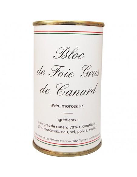 Bloc foie gras de canard avec morceaux boîte ronde 200g