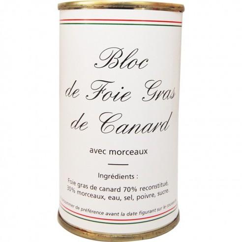 Bloc foie gras de canard avec morceaux boîte ronde 400g